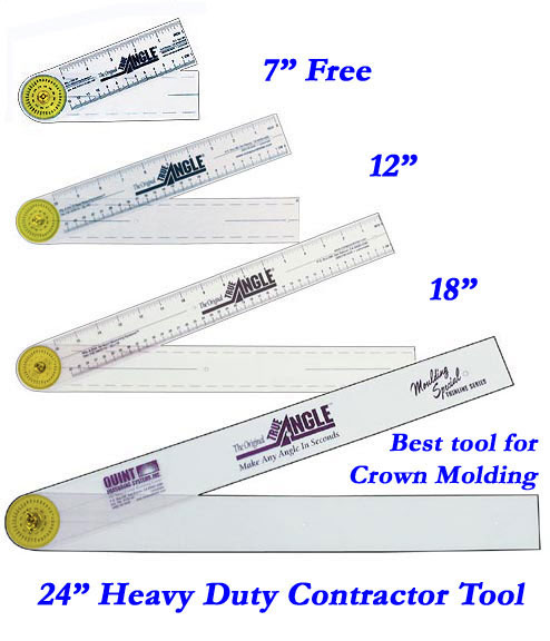 Order true angle tools for Crown molding size chart
